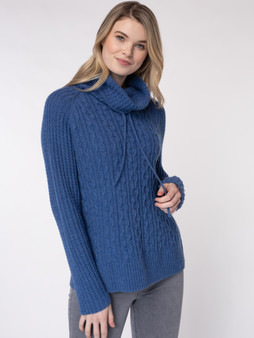 Cinch Neck Cable Pullover