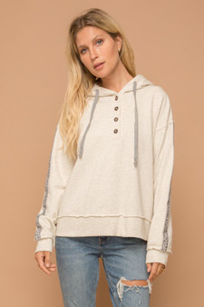 Henley Hoodie with Animal Trim