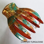 French Yoga Hair Clip Copper Turquoise