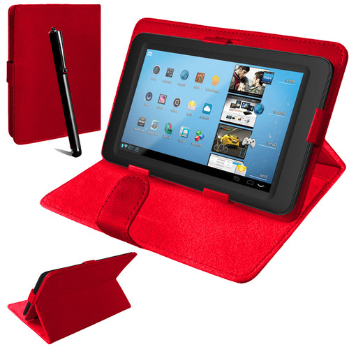 Nook HD 7 inch Universal Red Leather Stand Folding Folio Case