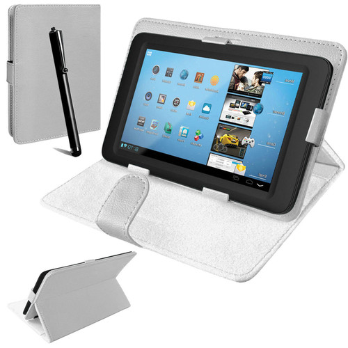 Nook HD 7 inch Universal White Leather Stand Folding Folio Case