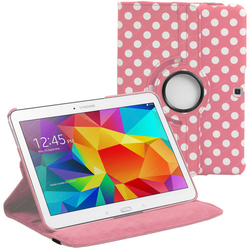 Pink & White Polka Dot PU Leather 360 Rotating Case for Samsung Galaxy Tab 4 Nook 10.1 (T530)