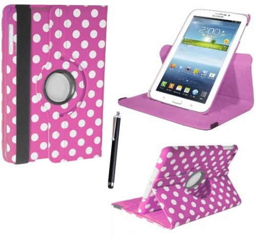 "Pink and White Polka Samsung Galaxy Tab PRO 8.4"" SM-T320/T325 360 Rotating Leather Case"
