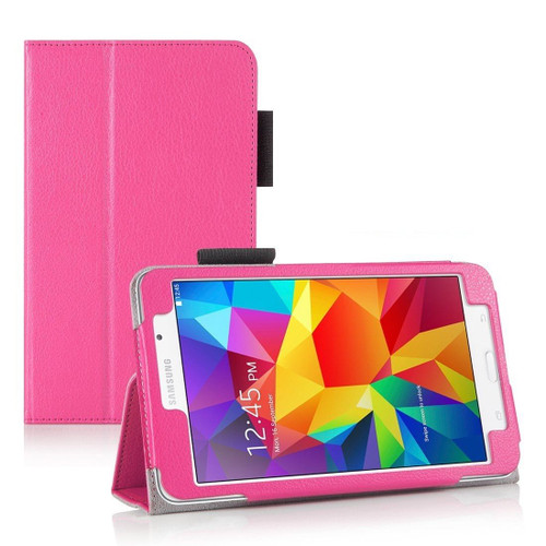 "Pink Folding Smart Leather Stand Case for Samsung Galaxy Tab 4 7.0 7"" Inch T230 T231"