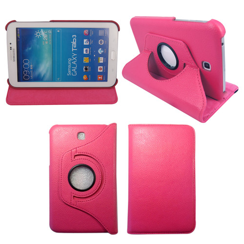 Pink PU Leather 360 Rotating Case for Samsung Galaxy Tab 3 7.0 (T210/P3200)