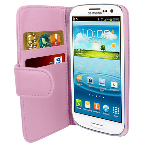 Pink PU Leather Wallet with Card Holder for Samsung Galaxy S3