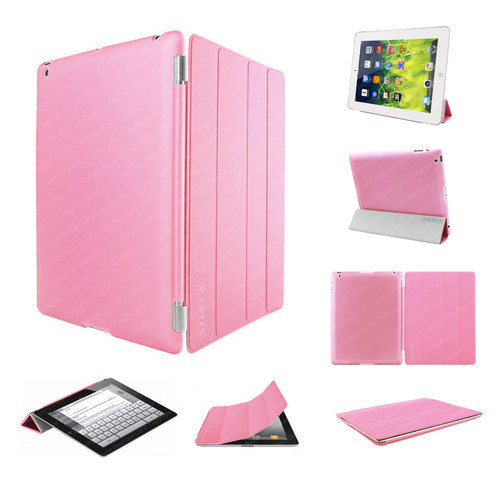Pink Ultra Slim Smart Case for iPad 2/3/4 + Stylus + Screen Protector