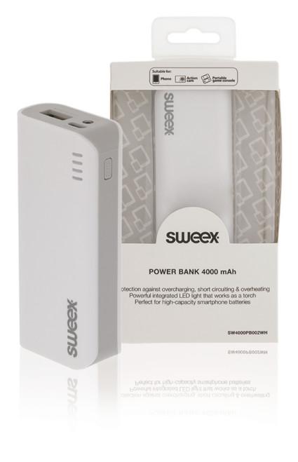Portable Power Bank Lithium-Ion 4000 mAh USB White