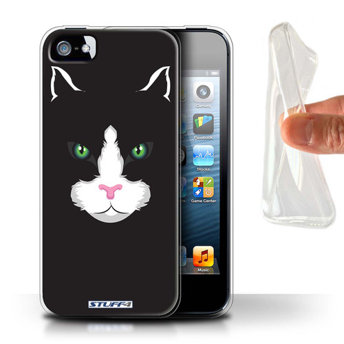 Protective Gel/TPU Case for Apple iPhone 5/5S / Animal Faces Collection / Black Cat