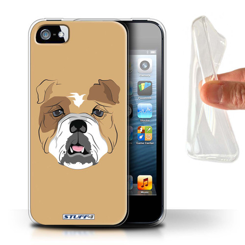 Protective Gel/TPU Case for Apple iPhone 5/5S / Animal Faces Collection / Dog/Bulldog