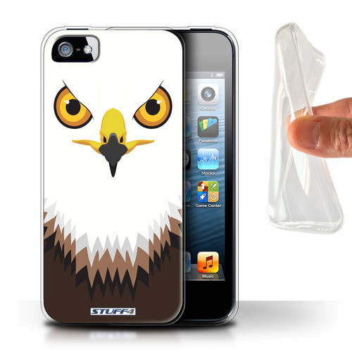Protective Gel/TPU Case for Apple iPhone 5/5S / Animal Faces Collection / Hawk/Eagle