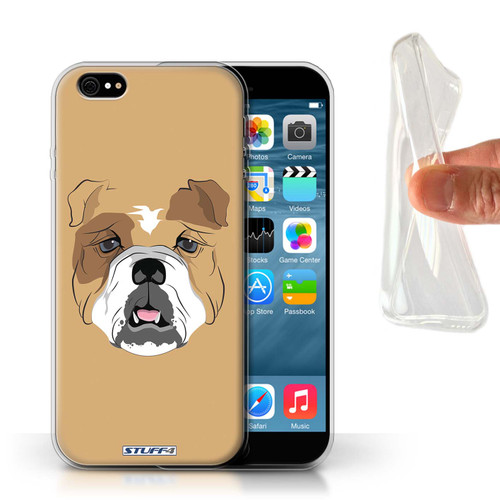 Protective Gel/TPU Case for Apple iPhone 6/6S / Animal Faces Collection / Dog/Bulldog