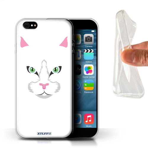 Protective Gel/TPU Case for iPhone 6+/Plus 5.5 / Animal Faces Collection / White Cat