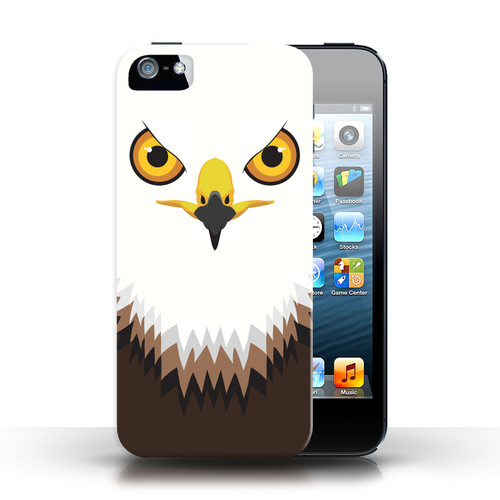 Protective Hard Back Case for Apple iPhone 5/5S / Animal Faces Collection / Hawk/Eagle