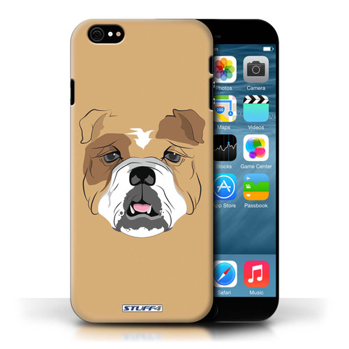 Protective Hard Back Case for Apple iPhone 6 / Animal Faces Collection / Dog/Bulldog