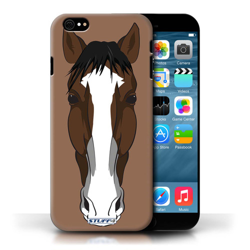 Protective Hard Back Case for Apple iPhone 6 / Animal Faces Collection / Horse