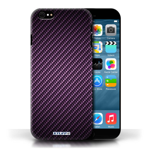 Protective Hard Back Case for Apple iPhone 6 / Carbon Fibre Effect/Pattern Collection / Purple