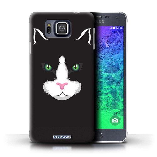 Protective Hard Back Case for Samsung Galaxy Alpha / Animal Faces Collection / Black Cat