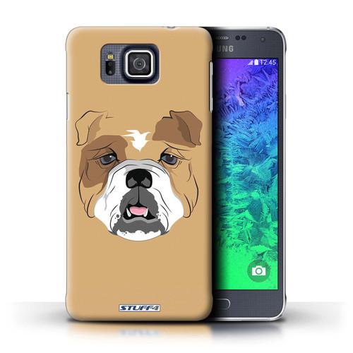 Protective Hard Back Case for Samsung Galaxy Alpha / Animal Faces Collection / Dog/Bulldog