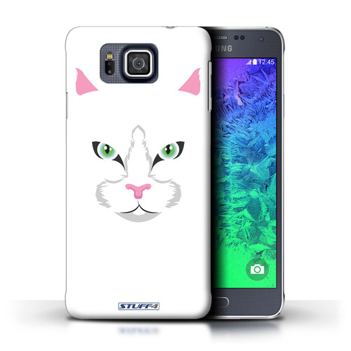 Protective Hard Back Case for Samsung Galaxy Alpha / Animal Faces Collection / White Cat