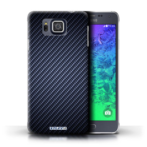 Protective Hard Back Case for Samsung Galaxy Alpha / Carbon Fibre Effect/Pattern Collection / Blue