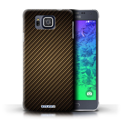 Protective Hard Back Case for Samsung Galaxy Alpha / Carbon Fibre Effect/Pattern Collection / Gold