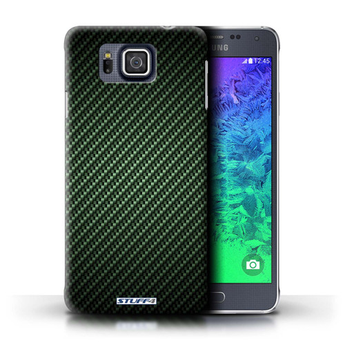 Protective Hard Back Case for Samsung Galaxy Alpha / Carbon Fibre Effect/Pattern Collection / Green
