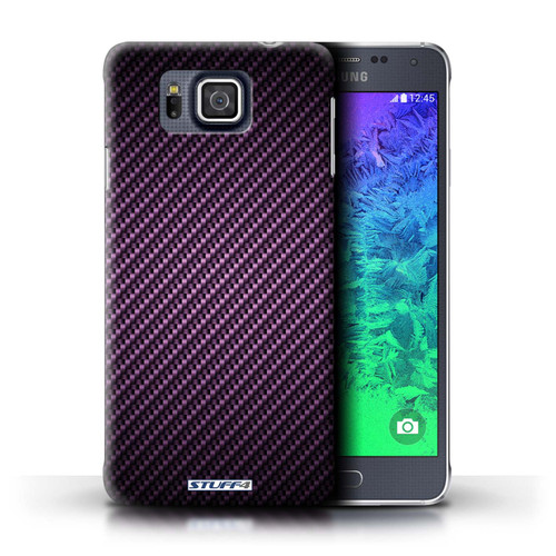 Protective Hard Back Case for Samsung Galaxy Alpha / Carbon Fibre Effect/Pattern Collection / Purple