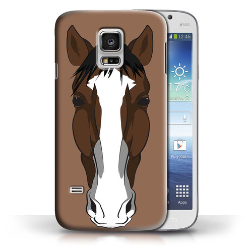 Protective Hard Back Case for Samsung Galaxy S5 Mini / Animal Faces Collection / Horse