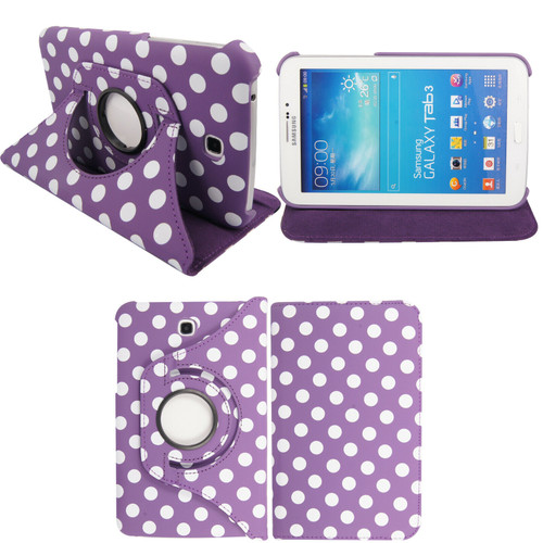 Purple & White Polka Dot PU Leather 360 Rotating Case for Samsung Galaxy Tab 3 7.0 (T210/P3200)