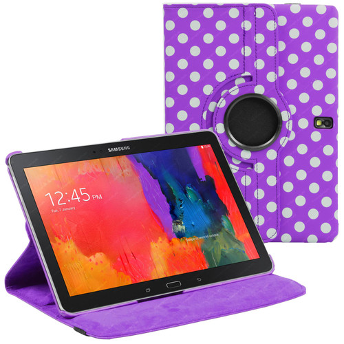 Purple & White Polka Dot PU Leather 360 Rotating Case for Samsung Galaxy Tab S 10.5 (T800/T801/T805)
