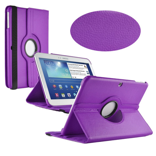 Purple PU Leather 360 Rotating Case for Samsung Galaxy Tab 3 10.1 (P5200/P5210)