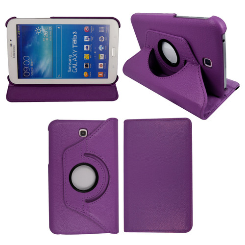 Purple PU Leather 360 Rotating Case for Samsung Galaxy Tab 3 7.0 (T210/P3200)