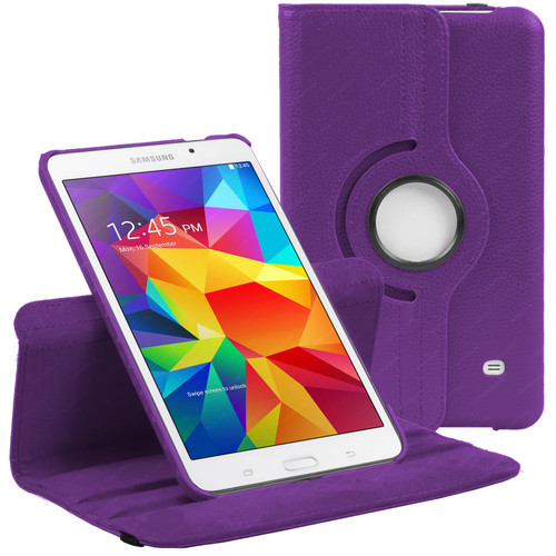 Purple PU Leather 360 Rotating Case for Samsung Galaxy Tab 4 8.0 (T330/T331/T335)
