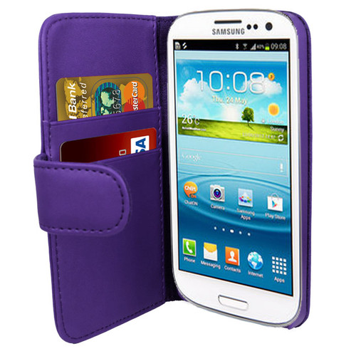 Purple PU Leather Wallet with Card Holder for Samsung Galaxy S3