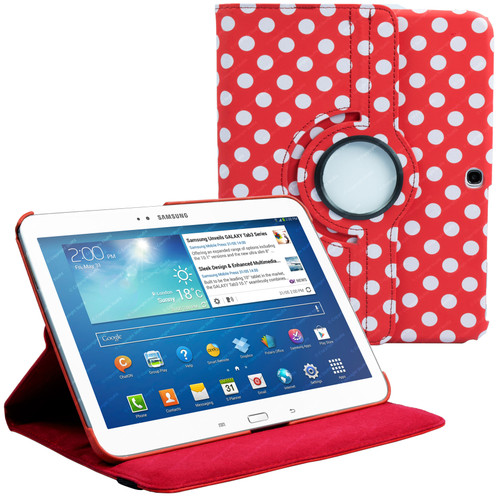 Red & White Polka Dot PU Leather 360 Rotating Case for Samsung Galaxy Tab 3 10.1 (P5200/P5210)