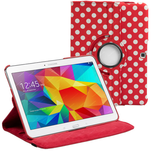 Red & White Polka Dot PU Leather 360 Rotating Case for Samsung Galaxy Tab 4 Nook 10.1 (T530)