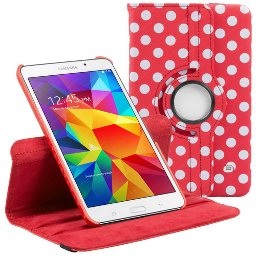 Red & White Polka Dot PU Leather 360 Rotating Case for Samsung Galaxy Tab 4 Nook 7.0 (T230)