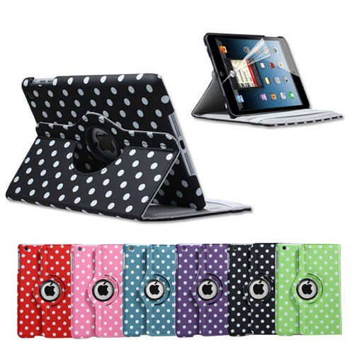 Red and White Polka Dots ipad Mini 360 1 2 3 Rotation Leather Case Stand Cover