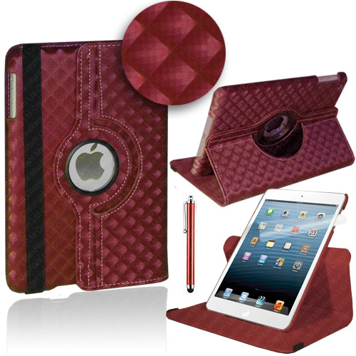 Red Diamond PU Leather 360 Rotating Case for iPad Air 2
