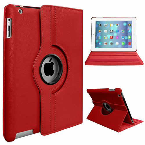 Red PU Leather 360 Rotating Case for iPad 2/3/4