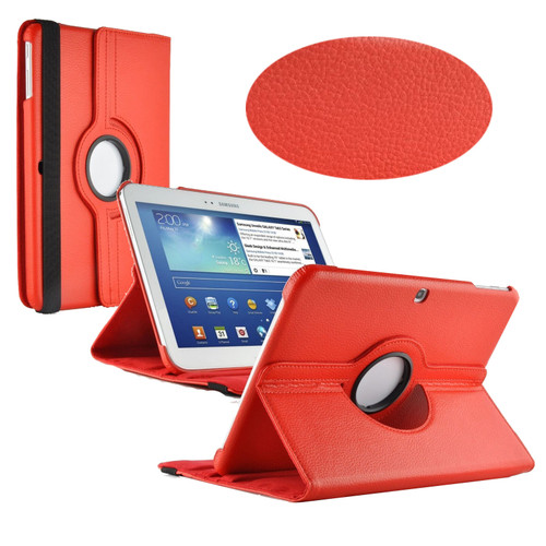 Red PU Leather 360 Rotating Case for Samsung Galaxy Tab 3 10.1 (P5200/P5210)