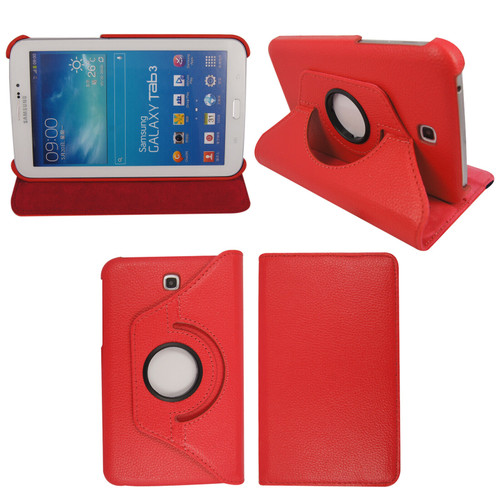 Red PU Leather 360 Rotating Case for Samsung Galaxy Tab 3 7.0 (T210/P3200)