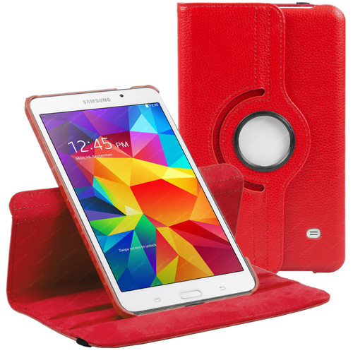 Red PU Leather 360 Rotating Case for Samsung Galaxy Tab 4 8.0 (T330/T331/T335)