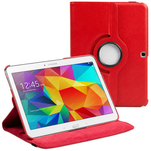 Red PU Leather 360 Rotating Case for Samsung Galaxy Tab 4 Nook 10.1 (T530)