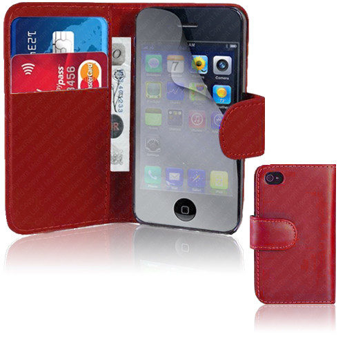 Red PU Leather Wallet with Card Holder for iPhone 5