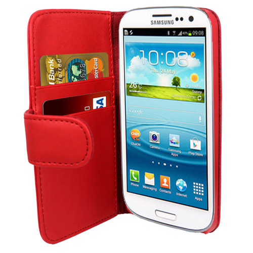 Red PU Leather Wallet with Card Holder for Samsung Galaxy S3