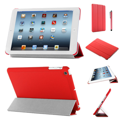 Red Slim Tri-Fold PU Leather Case for iPad 2/3/4