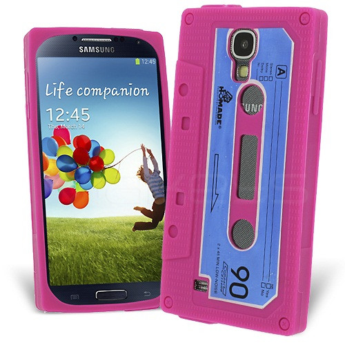 Retro Cassette Case Cover for Samsung Galaxy S4 - Deep Pink