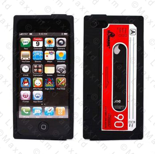 Retro Tape Style Case for iPhone 5 + Screen Protector - Black